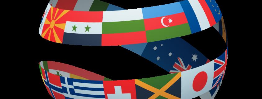Flagi wielu państw ułożonych tworząc kulę