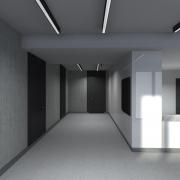 widok korytarza w wizualizacji programu komputerowego